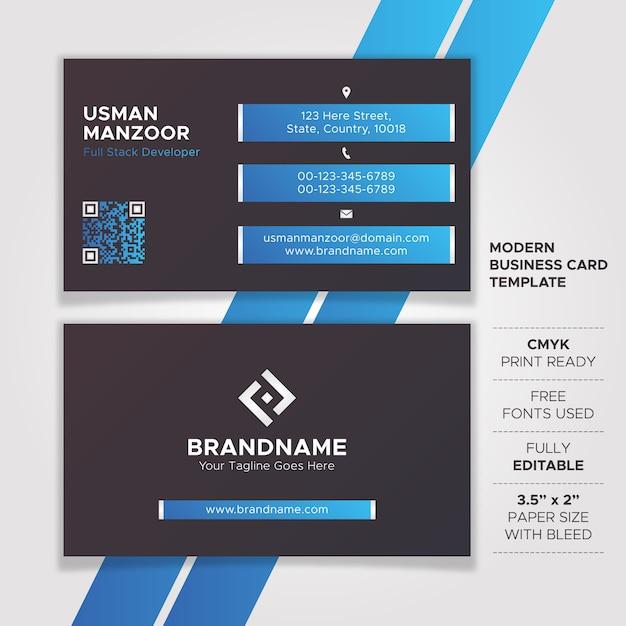 Design per biglietti da visita tecnologia nero e blu Vettore Premium