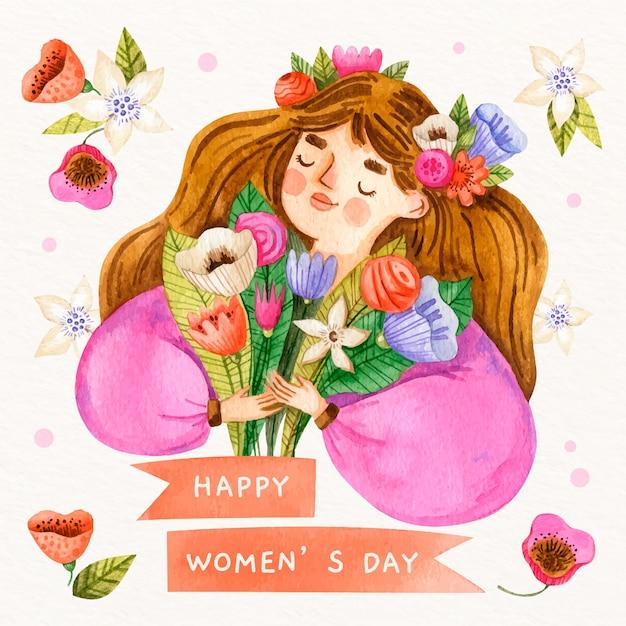 Design per la festa della donna dell'acquerello Vettore gratuito