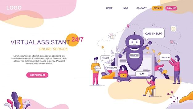 Design per virtual assistant sito web online Vettore Premium