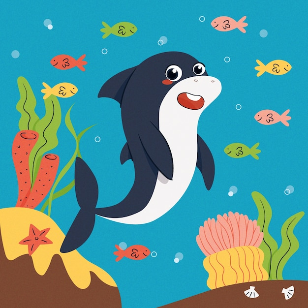 Design piatto baby squalo e pesci colorati Vettore gratuito