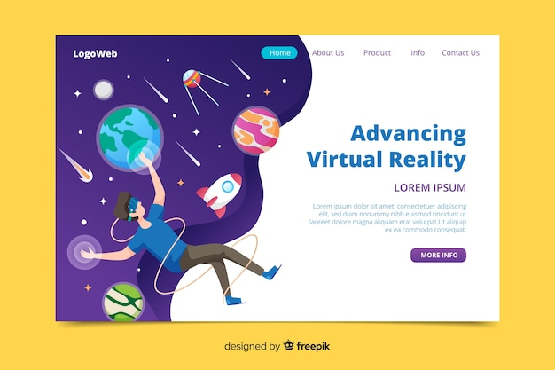 Design piatto che avanza nella realtà virtuale Vettore gratuito