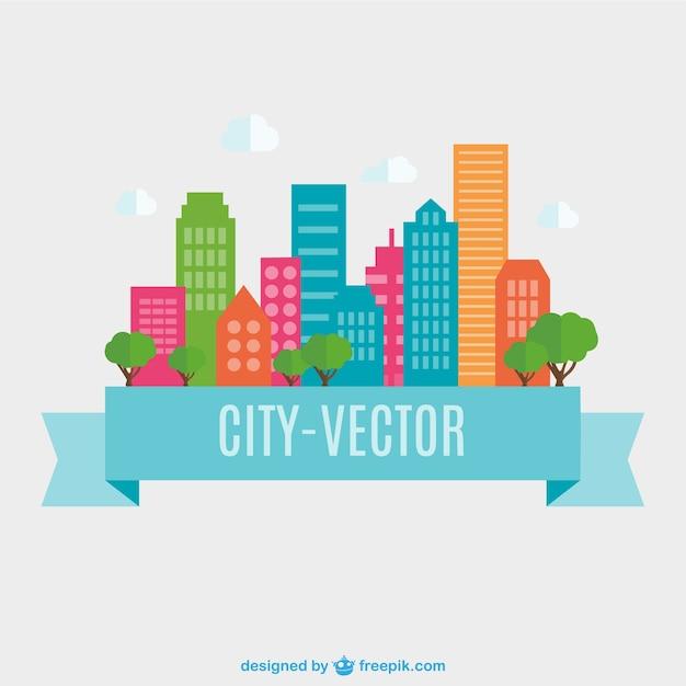 Design piatto città vettore Vettore gratuito