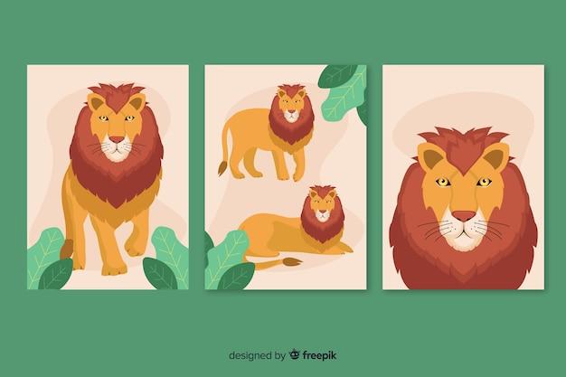 Design piatto collezione di carte di leone Vettore gratuito