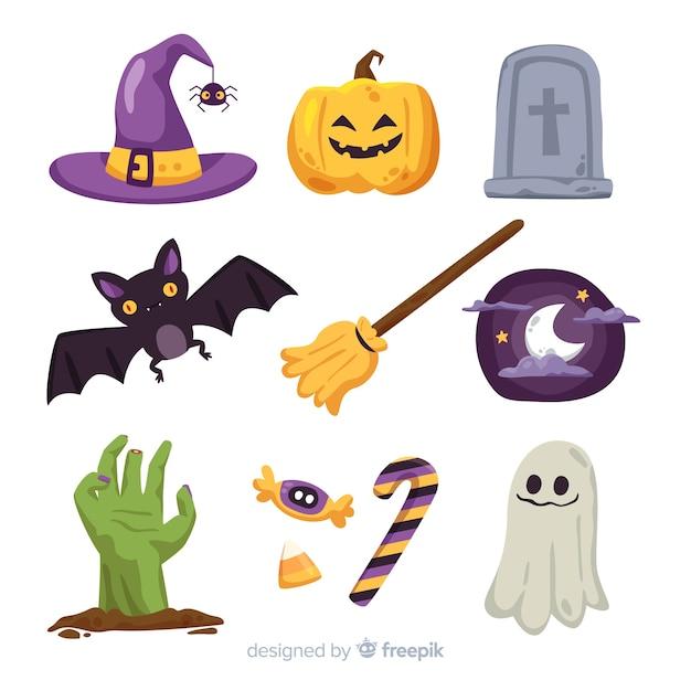 Design piatto collezione di elementi di halloween Vettore gratuito
