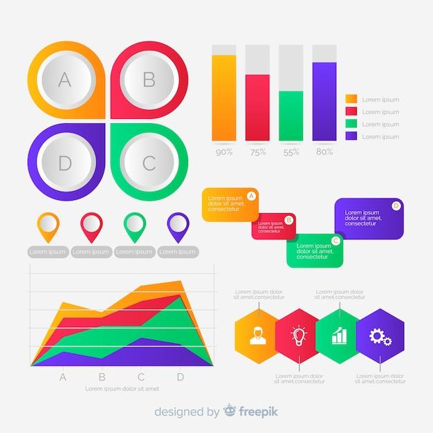 Design piatto collezione di elementi di infografica Vettore gratuito