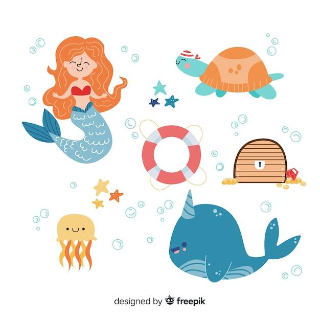 Design piatto collezione di personaggi di vita marina Vettore gratuito