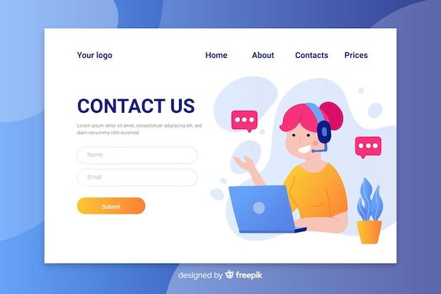 Design piatto colorato contattaci landing page con operatore femminile parlando Vettore gratuito