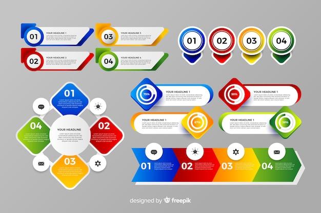 Design piatto colorato elemento infographic Vettore gratuito