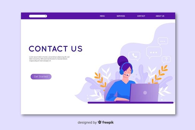 Design piatto contattaci landing page Vettore gratuito