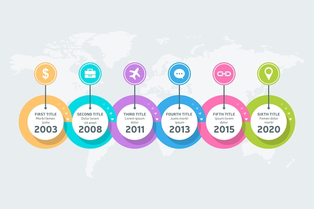 Design piatto cronologia infografica Vettore gratuito