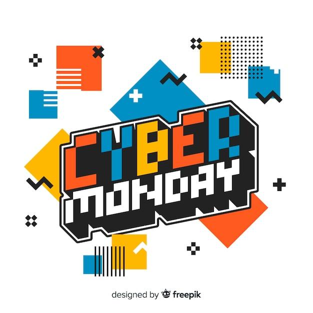 Design piatto cyber lunedì sfondo Vettore gratuito
