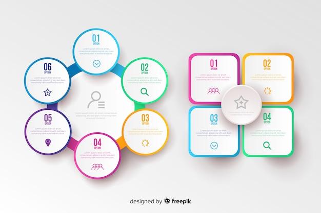 Design piatto del modello colorato infografica Vettore gratuito