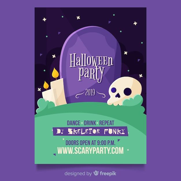 Design piatto del modello del manifesto del partito di halloween Vettore gratuito