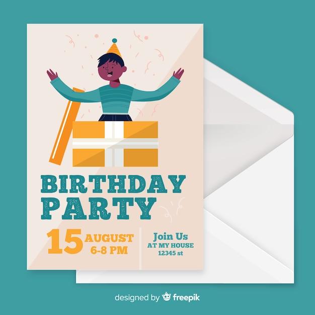Design piatto del modello di invito di compleanno Vettore gratuito
