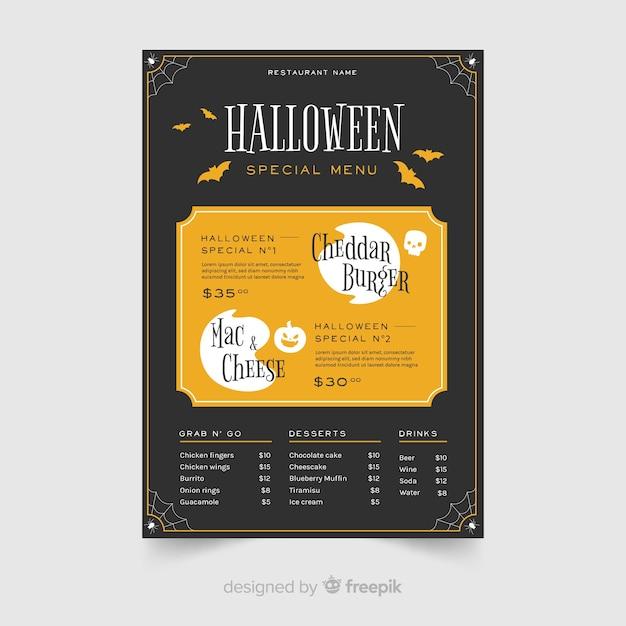 Design piatto del modello di menu di halloween Vettore gratuito