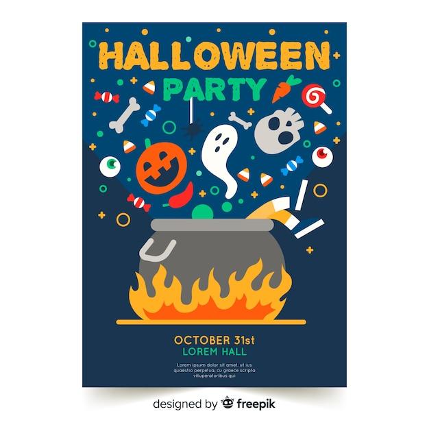 Design piatto del modello di poster colorato festa di halloween Vettore gratuito