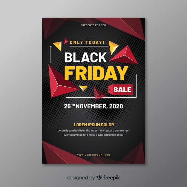Design piatto del modello di volantino venerdì nero Vettore gratuito