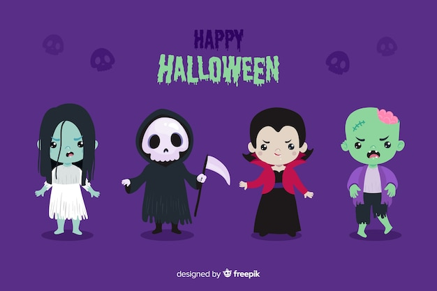 Design piatto del personaggio di halloween Vettore gratuito