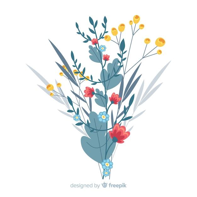 Design piatto del ramo floreale colorato Vettore gratuito
