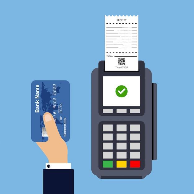 Design piatto del terminale pos con ricevuta. pagamento con carta di credito. Vettore Premium