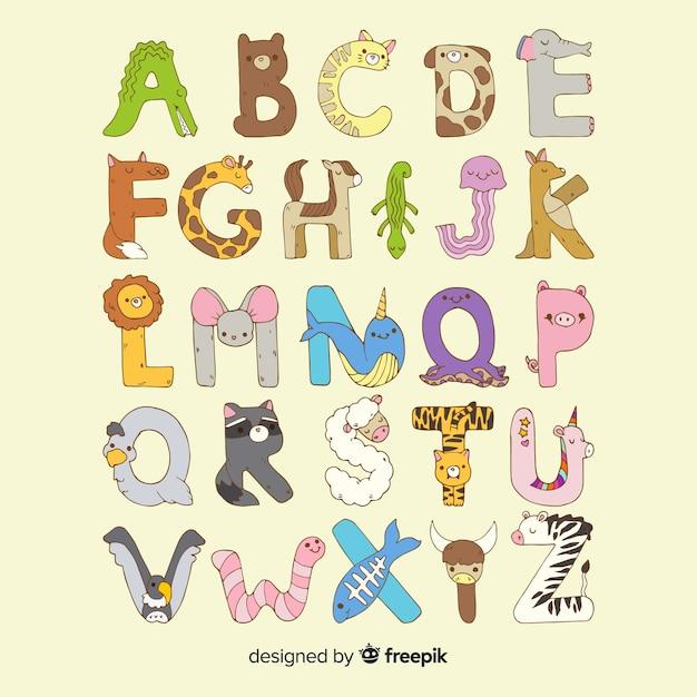 Design piatto dell'alfabeto animale Vettore gratuito