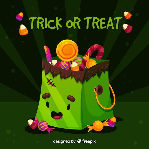 Design piatto della borsa monster di halloween frankenstein Vettore gratuito