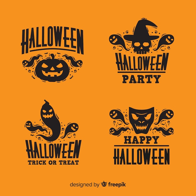Design piatto della collezione di badge di halloween Vettore gratuito