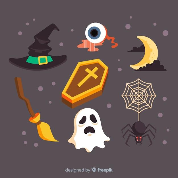 Design piatto della collezione di elementi di halloween Vettore gratuito