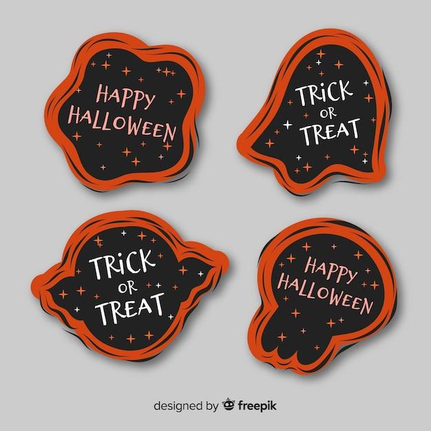 Design piatto della collezione di etichette di halloween Vettore gratuito