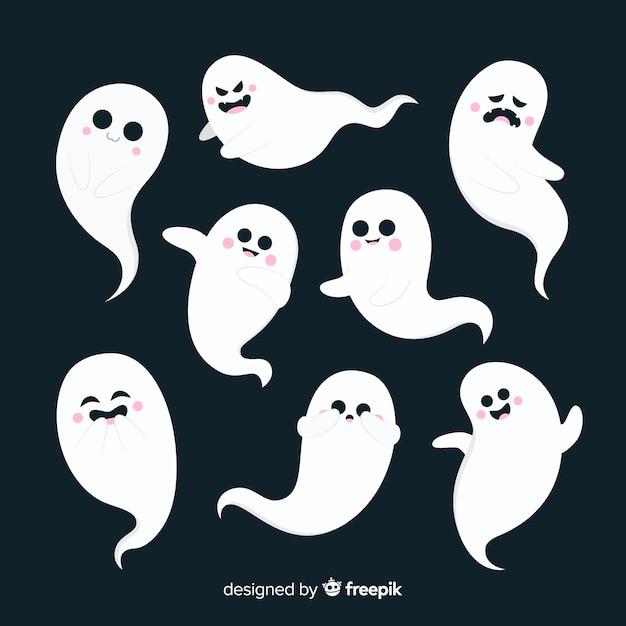 Design piatto della collezione di fantasmi di halloween Vettore gratuito