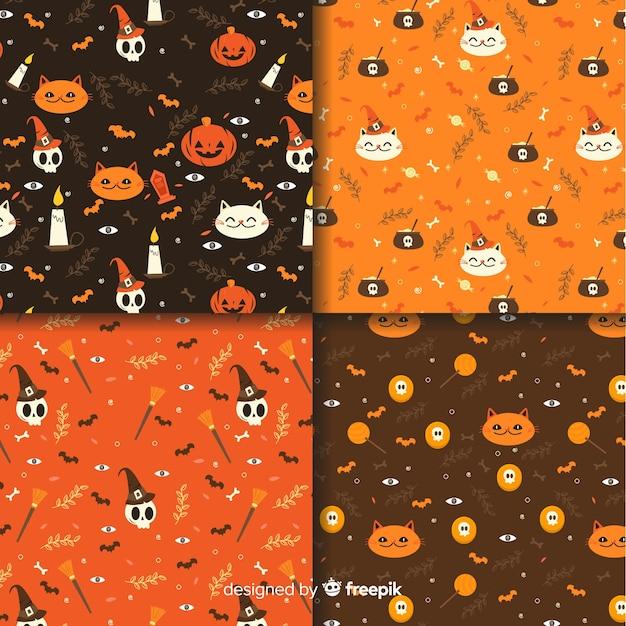 Design piatto della collezione di pattern di halloween Vettore gratuito