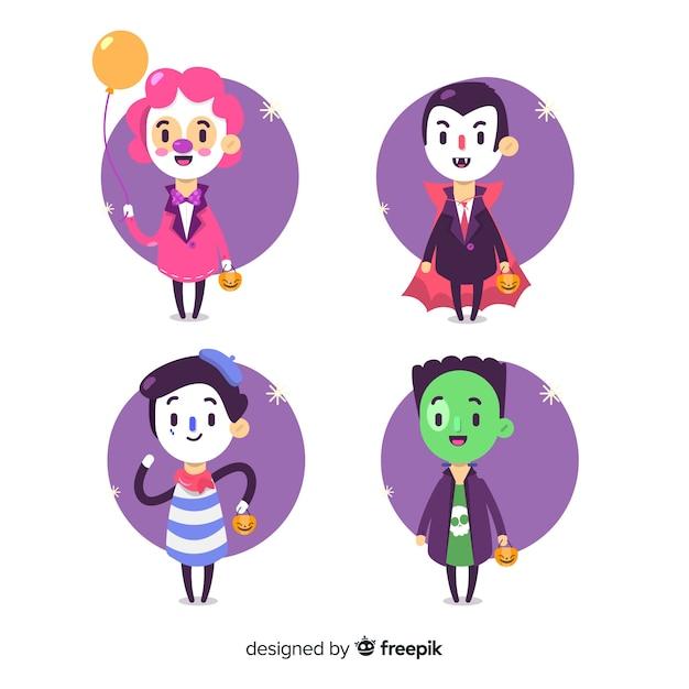 Design piatto della collezione kid di halloween Vettore gratuito
