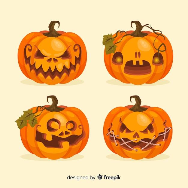 Design piatto della collezione zucca di halloween Vettore gratuito