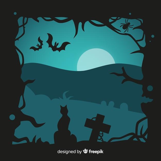 Design piatto della cornice di halloween Vettore gratuito