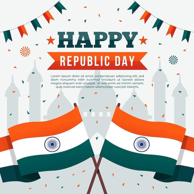 Design piatto della felice festa della repubblica indiana Vettore gratuito