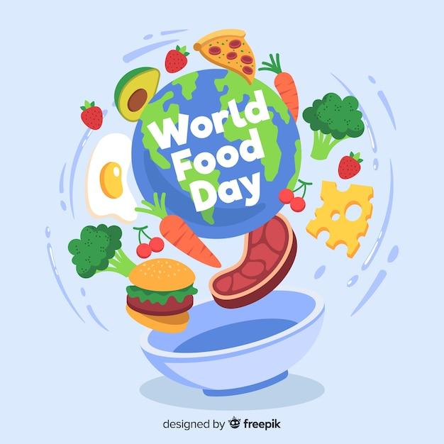 Design piatto della giornata mondiale dell'alimentazione Vettore gratuito
