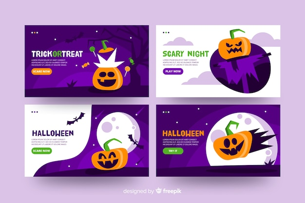 Design piatto della landing page di halloween Vettore gratuito