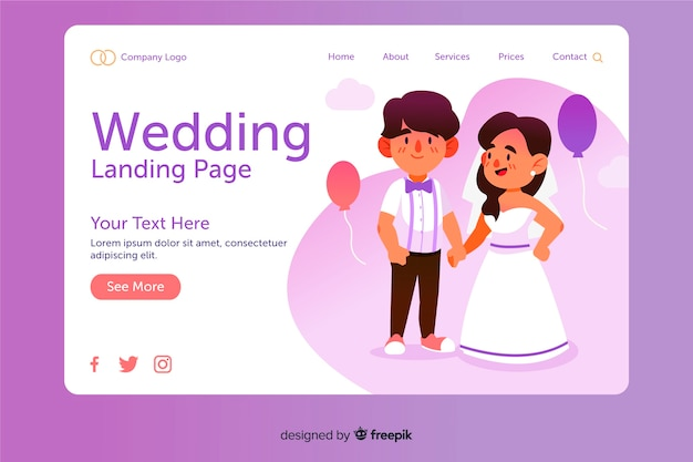 Design piatto della pagina di destinazione del matrimonio Vettore gratuito