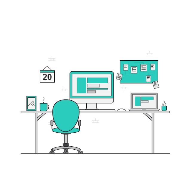Design piatto dello spazio di lavoro scaricare vettori for Costruttore di layout gratuito