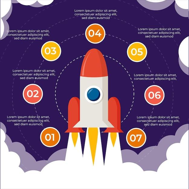 Design piatto di avvio infografica Vettore gratuito