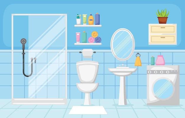 Design piatto di bagno interno pulito moderno arredamento camera Vettore Premium