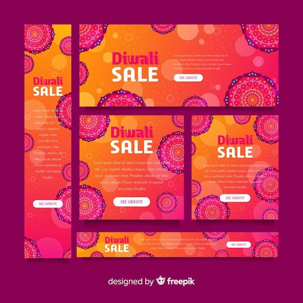 Design piatto di banner web diwali Vettore gratuito