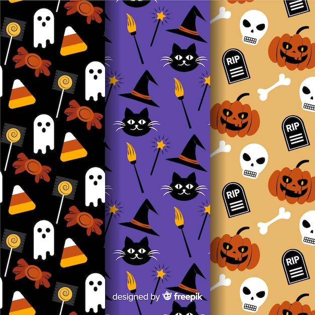 Design piatto di collezione modello halloween Vettore gratuito