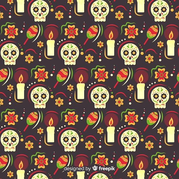 Design piatto di dia de muertos pettern Vettore gratuito