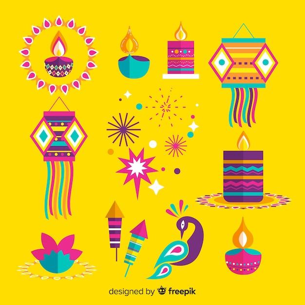 Design piatto di diwali sfondo Vettore gratuito