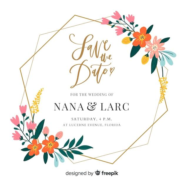 Design piatto di invito a nozze cornice floreale Vettore gratuito