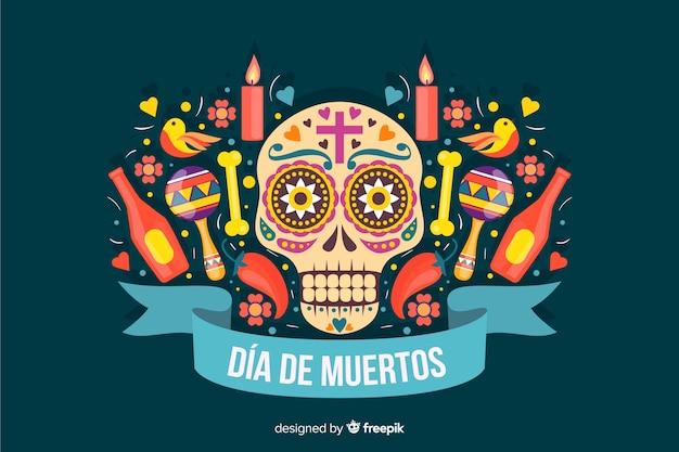 Design piatto di sfondo colorato dia de muertos Vettore gratuito
