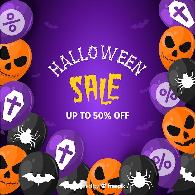Design piatto di sfondo di vendita di halloween con palloncini Vettore gratuito