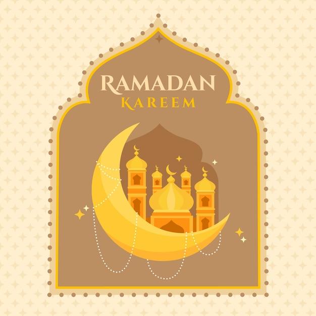 Design piatto di sfondo ramadan kareem Vettore gratuito
