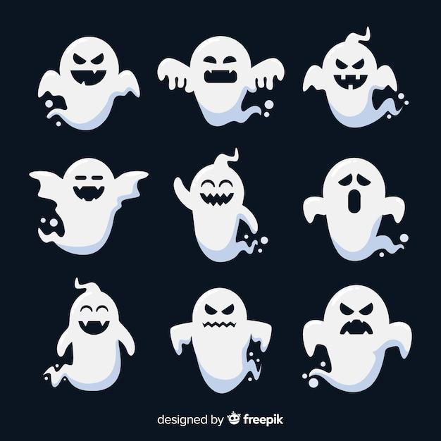 Design piatto di una collezione di fantasmi Vettore gratuito